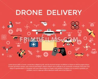 Digital vector flying drone delivery objects color simple flat icon set collection, isolated - frimufilms.com