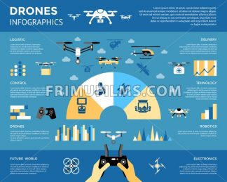 Digital vector flying drone infographics objects color simple flat icon set collection, isolated - frimufilms.com