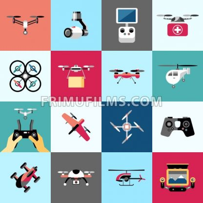 Digital vector flying drone objects color simple flat icon set collection, isolated - frimufilms