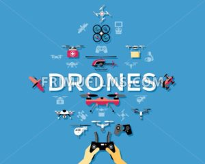 Digital vector flying drone objects color simple flat icon set collection, isolated - frimufilms.com