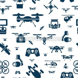 Digital vector flying drone objects color simple flat icon set collection, isolated seamless pattern - frimufilms.com