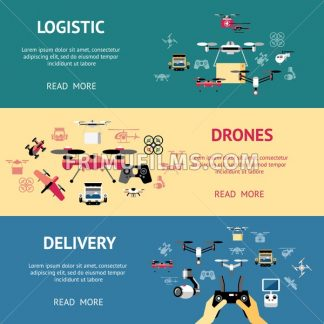 Digital vector flying logisti drone delivery objects color simple flat icon set collection, isolated - frimufilms.com