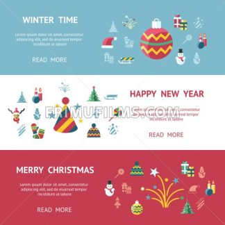 Digital vector merry christmas and new year holidays infographics set collection decoration objects color simple flat icon with fir tree, isolated - frimufilms.com