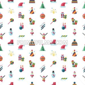 Digital vector seamless pattern christmas and new year holidays set collection decoration objects color simple flat icon with fir tree, isolated - frimufilms.com