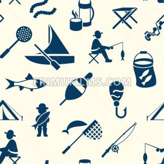 Digital vector seamless pattern fishing activity set collection decoration objects color simple flat icon with holding net or rod, isolated - frimufilms.com