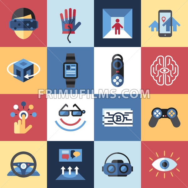Digital vector virtual augmented reality concept set collection objects color simple flat icon, next generation gaming - frimufilms.com