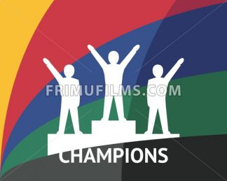 Digital vector white winners on podium pedestal color simple flat icon set collection, champions infographics, isolated - frimufilms.com