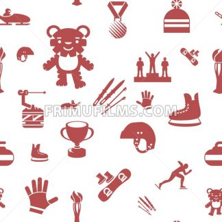 Digital vector winter games objects color simple flat icon set collection, isolated, seamless pattern - frimufilms.com