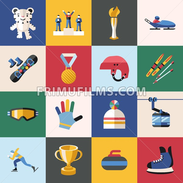 Digital vector winter games objects color simple flat icon with olympic games 2018 mascot, isolated - frimufilms.com