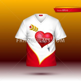 Happy Valentine Day T shirt Vector realistic. detailed volumed shirts with hearts print - frimufilms.com