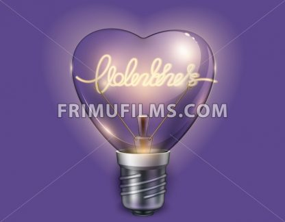 Light bulb heart shaped on violet background. Vector realistic 3d illustration. Valentine day card - frimufilms.com