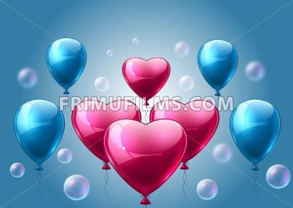 Pink and blue balloons realistic Vector. Heart shape shinny detailed 3d balloon - frimufilms.com