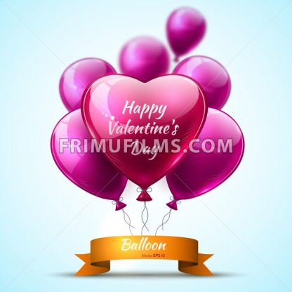 Pink detailed 3d balloons Valentine Day realistic Vector card - frimufilms.com