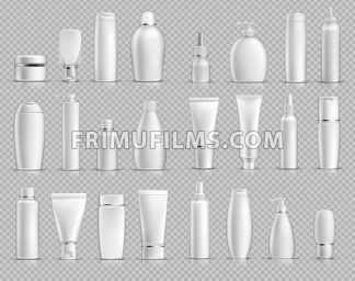 Realistic Cosmetic bottles mock up set on silver background. Blank templates of empty and clean white plastic containers. Vector packaging tubes collection - frimufilms.com