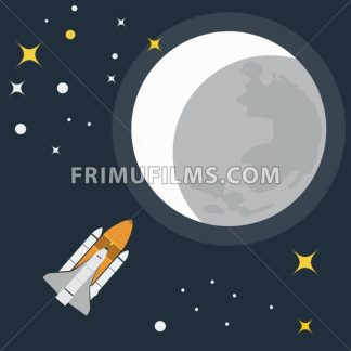 Space Rocket Flight to Moon. Galaxy Exploration. Rocket in Space. Moon with Stars. Vector digital illustration. - frimufilms.com