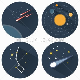 Space stars constellations, galaxies and comets. Solar system vector flat icons set illustration. Objects used for education astronomy manuals and science books, banners and flyers. - frimufilms.com