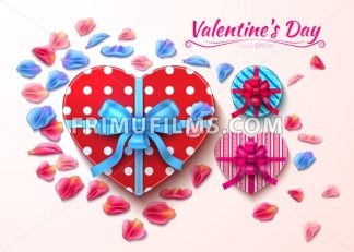 Valentine day gift boxes heart shape Vector realistic illustration - frimufilms.com