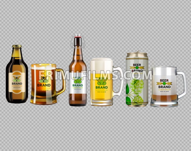 Vector Realistic glass and metallic white and brown beer bottle and glasses collection set. Brand packaging template. Logo designs with hop flowers. Gold background - frimufilms.com