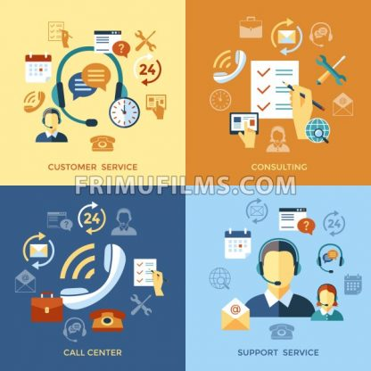 Digital call center and customer support objects color simple flat icon set collection, isolated - frimufilms