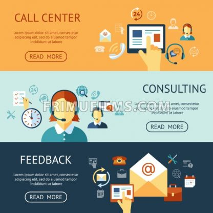Digital call center and customer support objects color simple flat icon set collection, isolated infographics - frimufilms