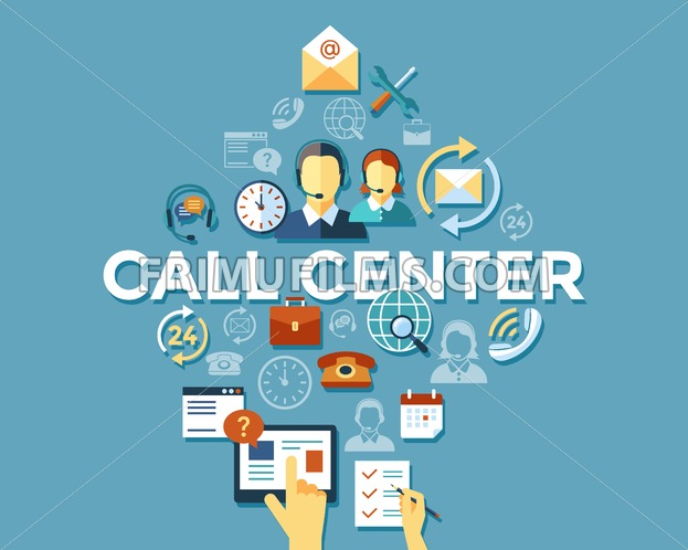 Digital call center and customer support objects color simple flat icon set collection, isolated infographics - frimufilms.com
