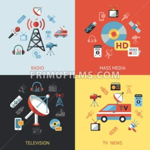 Digital mass media objects color simple flat icon set collection, isolated - frimufilms.com