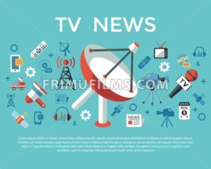 Digital mass media objects color simple flat icon set collection, isolated infographics - frimufilms.com
