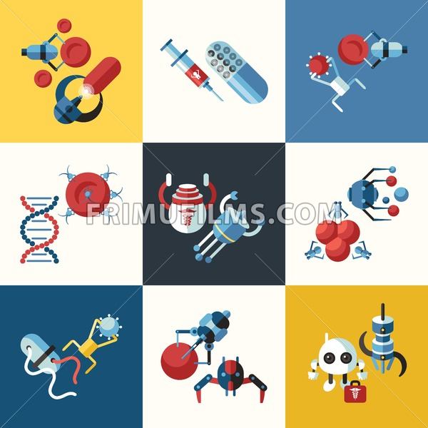 Digital smart medical nano robots concept objects color simple flat icon set collection, isolated healthcare, dna pills and implants - frimufilms.com