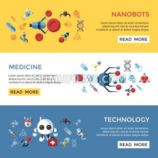 Digital smart medical nano robots concept objects color simple flat icon set collection, isolated healthcare, dna pills and implants infographics - frimufilms