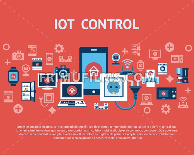 Digital vector red internet of things control concept objects color simple flat icon set collection, isolated - frimufilms.com