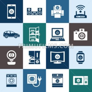 Digital vector smart internet of things concept objects color simple flat icon set collection, isolated - frimufilms.com