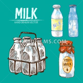 Digital vector detailed line art fresh milk in glass bottles hand drawn retro illustration collection set. Thin artistic pencil outline. Vintage ink flat, engraved mill doodle sketches. Isolated - frimufilms.com