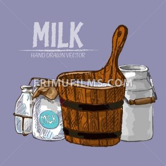 Digital vector detailed line art milk in old different packages hand drawn retro illustration collectiona set. Thin artistic pencil outline. Vintage ink flat, engraved mill doodle sketches. Isolated - frimufilms.com