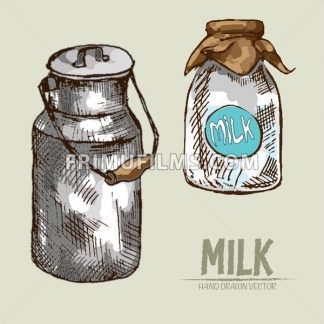 Digital vector detailed line art milk packed in can, glass bottle hand drawn retro illustration collection set. Thin artistic pencil outline. Vintage ink flat, engraved mill doodle sketches. Isolated - frimufilms.com
