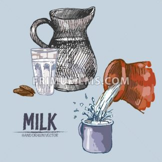 Digital vector detailed line art pouring splash and pitcher milk hand drawn retro illustration collection set. Thin artistic pencil outline. Vintage ink flat, engraved mill doodle sketches. Isolated - frimufilms.com