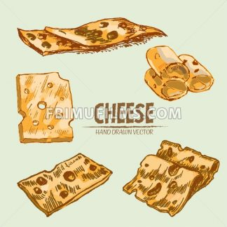 Digital vector detailed line art thin sliced cheese with holes hand drawn retro illustration collection set. Thin artistic pencil outline. Vintage ink flat, engraved mill doodle sketches. Isolated - frimufilms.com
