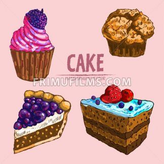 Digital vector detailed line art cake and cupcakes with fruits hand drawn retro illustration collection set. Thin artistic pencil outline. Vintage ink flat, engraved design doodle sketches. Isolated - frimufilms.com