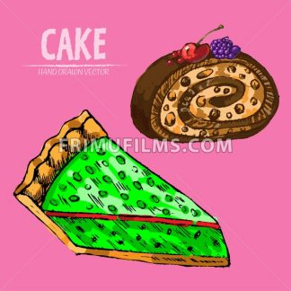 Digital vector detailed line art cake roll and pie slices hand drawn retro illustration collection set. Thin artistic pencil outline. Vintage ink flat, engraved design doodle sketches. Isolated - frimufilms.com