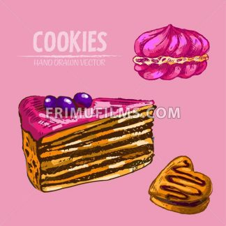 Digital vector detailed line art cakes slices with fruits with hand drawn retro illustration collection set. Thin artistic pencil outline. Vintage ink flat, engraved design doodle sketches. Isolated - frimufilms.com