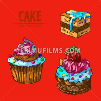 Digital vector detailed line art cupcakes and cake slices hand drawn retro illustration collection set. Thin artistic pencil outline. Vintage ink flat, engraved design doodle sketches. Isolated - frimufilms.com