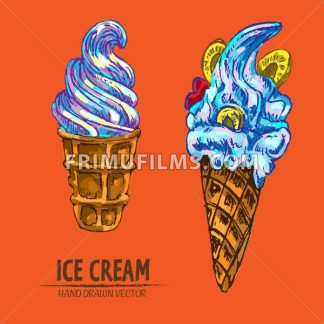 Digital vector detailed line art ice cream in waffle cones hand drawn retro illustration collection set. Thin artistic pencil outline. Vintage ink flat, engraved design doodle sketches. Isolated - frimufilms.com