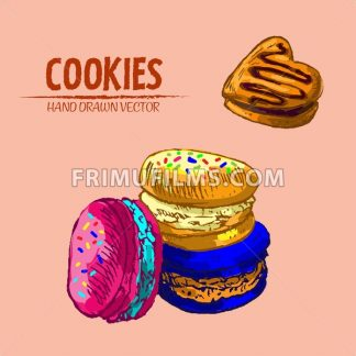 Digital vector detailed line art macarons and heart slice cake hand drawn retro illustration collection set. Thin artistic pencil outline. Vintage ink flat, engraved design doodle sketches. Isolated - frimufilms.com