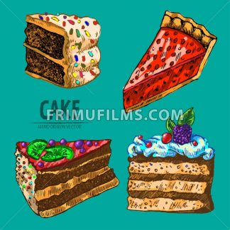 Digital vector detailed line art pie and cake slices with fruits hand drawn retro illustration collection set. Thin artistic pencil outline. Vintage ink flat, engraved design doodle sketches. Isolated - frimufilms.com
