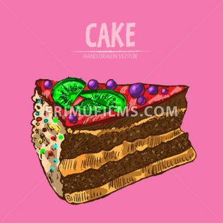 Digital vector detailed line art slice of cake with fruits hand drawn retro illustration collection set. Thin artistic pencil outline. Vintage ink flat, engraved design doodle sketches. Isolated - frimufilms.com