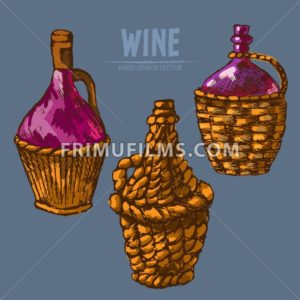 Digital vector detailed line art traditional wine pitchers hand drawn retro illustration collection set. Thin artistic pencil outline. Vintage ink flat, engraved design doodle sketches. Isolated - frimufilms.com