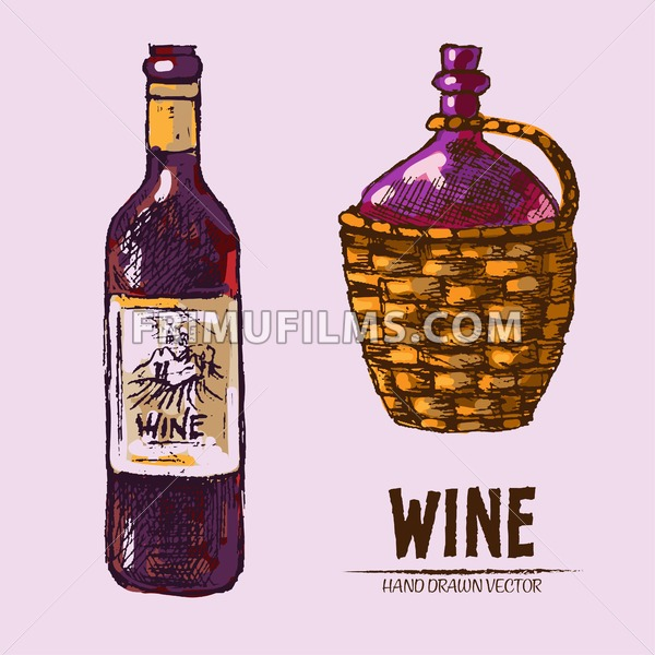 Digital vector detailed line art wine bottle and pitcher hand drawn retro illustration collection set. Thin artistic pencil outline. Vintage ink flat, engraved design doodle sketches. Isolated - frimufilms.com