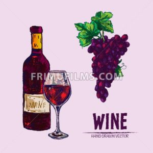 Digital vector detailed line art wine bottle and wineglass hand drawn retro illustration collection set. Thin artistic pencil outline. Vintage ink flat, engraved design doodle sketches. Isolated - frimufilms.com