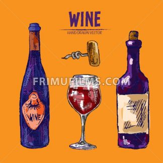 Digital vector detailed line art wine bottle, wineglass and opener hand drawn retro illustration collection set. Thin artistic pencil outline. Vintage ink flat, engraved design doodle sketches - frimufilms.com