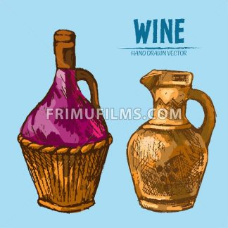 Digital vector detailed line art wine pitchers with ornaments and hand drawn retro illustration collection set. Thin artistic pencil outline. Vintage ink flat, engraved design doodle sketches - frimufilms.com