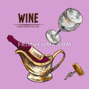 Digital vector detailed line art wine, wineglass and opener and hand drawn retro illustration collection set. Thin artistic pencil outline. Vintage ink flat, engraved design doodle sketches. Isolated - frimufilms.com
